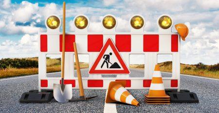 Baustelle, Absperrung für Bauarbeiten